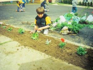 Óvodakert szépítése gyermeki segítséggel